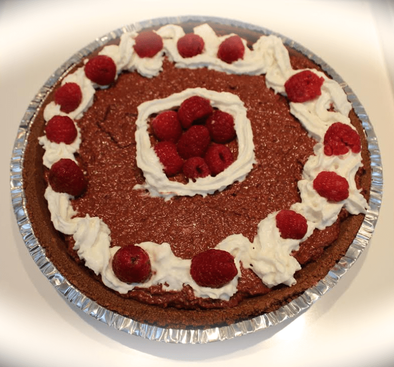 "Raspberry truffle pie from the ""Holiday Deliciousness"" cookbook. It's healthier and has fewer calories than it looks!"