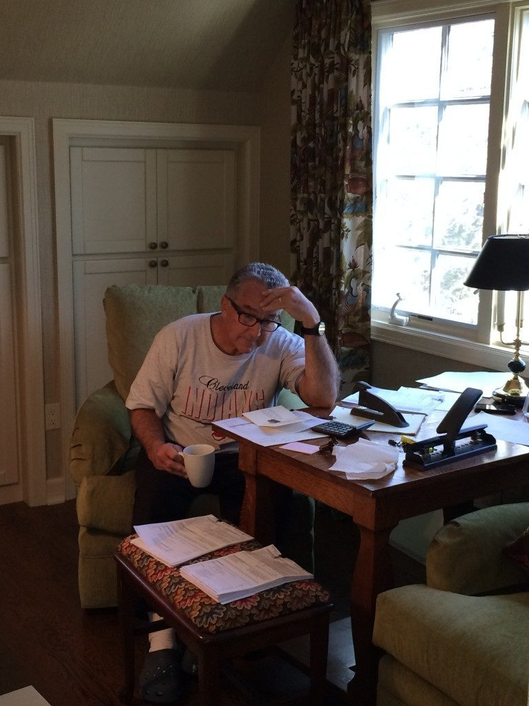 My husband, Bob, is definitely feeling the stress while doing our taxes!